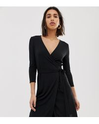 Mango - V Neck Wrap Dress Black - Lyst