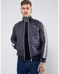 Fred Perry - Lavemham Tapped Quilted Jacket In Navy - Lyst