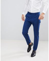 Mango - Man Slim Fit Suit Trousers In Navy - Lyst