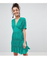 ASOS - Soft Mini Dress With Tiers - Lyst