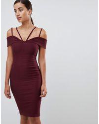 Vesper - Strappy Detail Midi Dress In Oxblood - Lyst