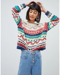 Mango - Crochet Knit Jumper In Multi - Lyst