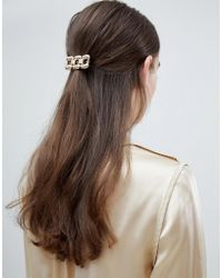ASOS - Design Chunky Chain Hair Clip In Gold - Lyst