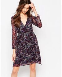 Diya - Long Sleeve Wrap Front Dress In Paisley Print - Lyst