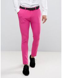ASOS - Super Skinny Prom Suit Trousers In Pink - Lyst