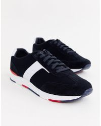 Tommy Hilfiger - Knitted Material Mix Logo Trainer In Navy - Lyst