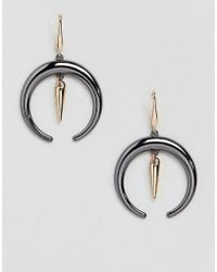 Steve Madden - Gold Crescent Fish Hook Earrings - Lyst