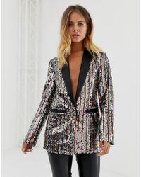 New Look - Sequin Blazer In Rainbow Stripe - Lyst