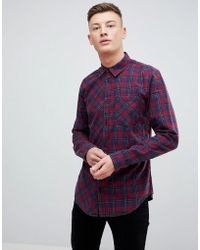 New Look | Regular Fit Shirt In Burgundy Check | Lyst