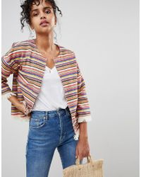 Pepe Jeans - Clemence Stripe Poncho Jacket - Lyst