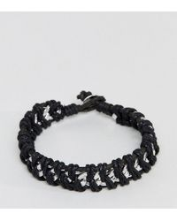 Reclaimed (vintage) - Inspired Cord & Chain Bracelet In Silver Exclusive To Asos - Lyst