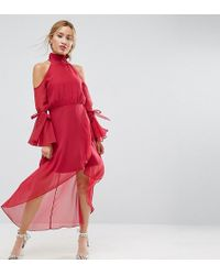 True Decadence - Premium Cold Shoulder Wrap Front Midi Dress With Fluted Sleeve Detail - Lyst