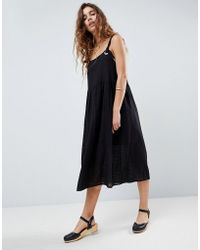 ASOS - Design Casual Smock Midi Sundress In Grid Texture With Knot Tie - Lyst