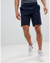 River Island - Slim Fit Chino Shorts With Belt In Navy - Lyst