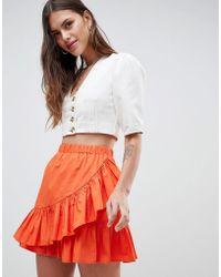 ASOS - Cotton Mini Skirt With Wrap Detail - Lyst