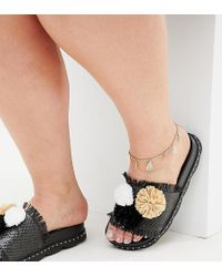 ASOS - Asos Design Curve Anklet With Filigree Charms In Gold - Lyst