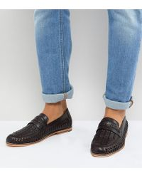 Frank Wright - Wide Fit Woven Loafers In Brown Leather - Lyst