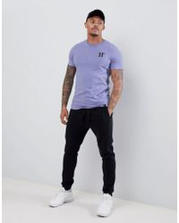 11 Degrees - Muscle Fit T-shirt In Purple With Logo - Lyst