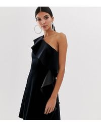 0be729ab8864 ASOS - Asos Design Tall Velvet One Shoulder Ruffle Mini Dress - Lyst