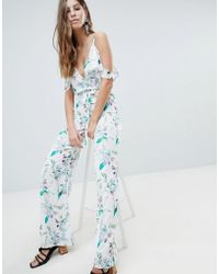 Oh My Love - Printed Cold Shoulder Jumpsuit With Frill Detail - Lyst