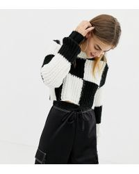 Collusion - Checkerboard Cropped Jumper - Lyst