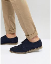 Frank Wright - Lace Up Shoes In Navy Suede - Lyst