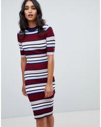 Lipsy - Ribbed Striped Dress - Lyst