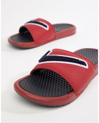 Nike - Benassi Jdi Chenille Sliders In Red Ao2805-600 - Lyst