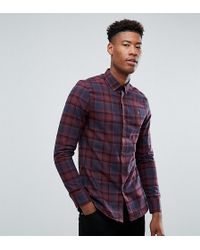 Farah - Tall Waithe Slim Fit Check Shirt In Red - Lyst