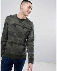 Abercrombie & Fitch - Destroyed Military Camo Print Logo Crewneck Sweatshirt In Green - Lyst