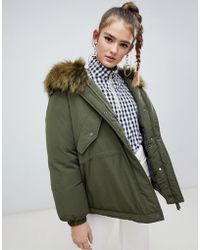 ONLY - Faux Fur Hooded Oversized Jacket - Lyst