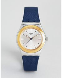 Swatch - Yls191 Irony Blue Push Leather Watch - Lyst