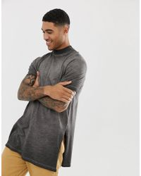 ASOS - Relaxed Super Longline T-shirt With Turtle Neck And Side Splits In Textured Fabric With Grey Pigment Wash - Lyst