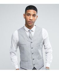 Noak - Skinny Wedding Suit Vest In Linen Nepp - Lyst