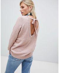 Vila - Soft Knitted Jumper With Deep V Back - Lyst