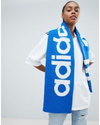adidas Originals - Trefoil Logo Scarf In Blue - Lyst