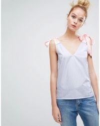 Sonia by Sonia Rykiel - Bow Shoulder Stripe Top - Lyst