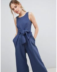 Closet - Jumpsuit With Tie Waist - Lyst