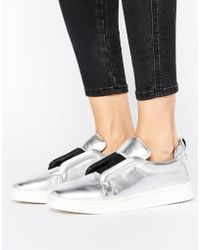 Sol Sana - Mickey Slip On Silver Leather Sneakers - Lyst