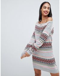 Club L - Christmas Off The Shoulder Jumper Dress With All Over Intarsia Fairsle Print - Lyst