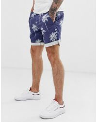 Replay Palm Tree Print Sretch Chino Shorts In Blue
