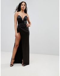 Club L - Plunge Front Bandeau Maxi Dress With Thigh Split - Lyst