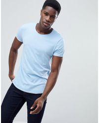 Esprit - Longline T-shirt With Raw Curved Hem In Blue - Lyst