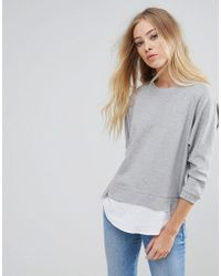 B.Young - Sweater With Shirting Panels - Lyst
