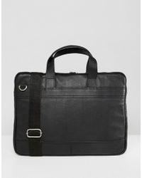 ASOS - Leather Slim Laptop Bag In Black - Lyst
