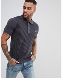 Fred Perry - Textured Knitted Polo Shirt In Grey - Lyst