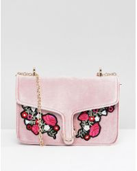 Yoki Fashion - Pink Velvet Bag With Embroidered Flowers - Lyst