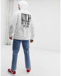 Vans - Oversized Hoodie With Back Print In White Vn0a3hyjwht1 - Lyst