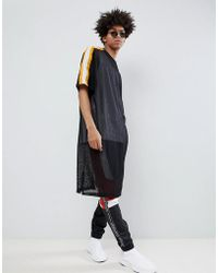 ASOS - Design Oversized Extreme Longline T-shirt In Mesh With Sleeve Taping - Lyst
