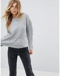 Girl In Mind - Rosie Mini Cable Knit Jumper Grey - Lyst